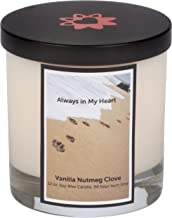 Aroma Paws Memorial Dog Candle – for Memorializing Pets, Dogs – Cotton Wick, Handcrafted – Soy Wax – Reusable, Recyclable Jar – 90 Min. Burn Time – 12 Oz, Pawprints in Sand Gold