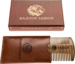 PRIME Beard Comb By Majestic Samson - Wooden Beard Mustache - Hair Comb For Men- Anti-Static Comb Made of Red Sandalwood With Amazing Smell- Fine Touch Comb With Pocket Case- Great Gift Idea