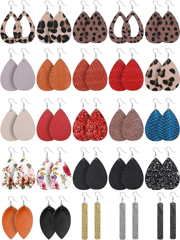 25 Pairs Faux Leather Earrings Teardrop Dangle Earrings Lightweight Leaf Earrings