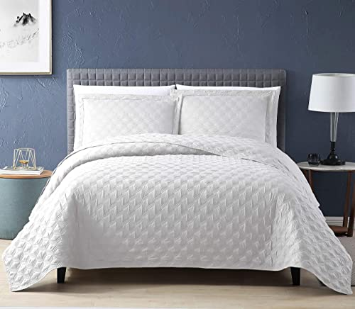 EXQ Home Quilt Set Full Queen Size White 3 Piece,Lightweight Microfiber Coverlet Modern Style Onion Flower Pattern Be...