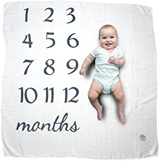 Baby Milestone Blanket | Monthly Photo Prop to Watch Your Newborn Infant Grow | Perfect Baby Shower Gift for New Moms | Unisex for Baby Boy and Girl | Track Age 0-12 Month Growth for First Year