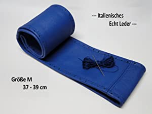 Blue Genuine Leather Car Steering Wheel Cover 37 nbsp   nbsp 39 nbsp cm Self Tie Straps Top