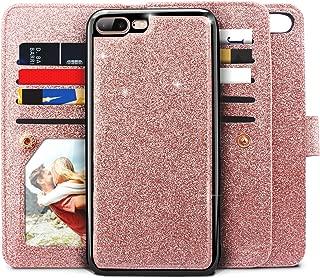 iPhone 8 Plus Case, iPhone 7 Plus Case, Miss Arts Glitter Detachable Slim Case with Car Mount Holder, 9 Card Slots, Magnet Clip, PU Leather Wallet for Apple iPhone 7 Plus 8 Plus -Rose Gold