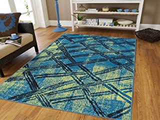 Luxury Distressed Area Rugs for Living Rooms 8x11 Area Rugs Clearance Blue Green Black Area Rug 8x10 Contemporary Rugs Blue, Large 8x11 Rug
