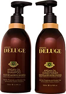 DELUGE - Argan Oil Shampoo and Conditioner. Sulfate and Paraben Free. Moisture Repair - Keratin and Color Safe. SET of 16 oz EACH