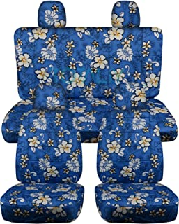 Totally Covers compatible with 2012-2018 Volkswagen New Beetle/Bug A5 Hawaiian Seat Covers: Blue w Flowers - Full Set Fron...