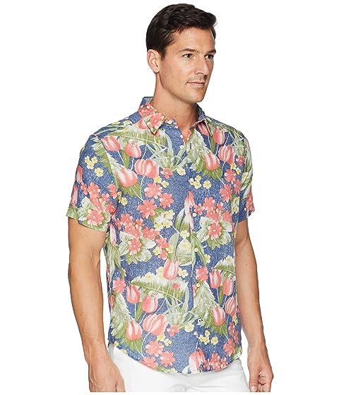 con azul Camisa hawaiano paseo estampado Nautica marítimo de de mezcla lino rWrYg8Ian