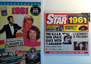 1961 Birthday Gifts Pack - 1961 DVD Film , 1961 Chart Hits CD and 1961 Birthday Card