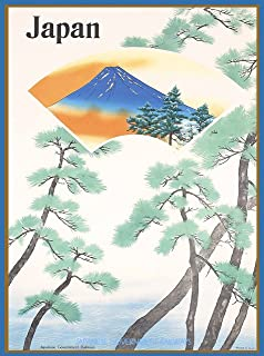 A SLICE IN TIME Japan Mt. Fuji Japanese Government Railways Asia Asian Vintage Travel Art Poster Print. Measures 10 x 13.5 inches