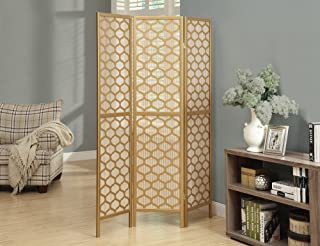 Monarch Specialties , Panel Room Divider, Solid Wood, Lantern Design, Gold,70