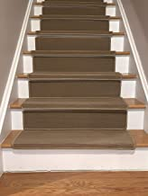 Bullnose Indoor Skid Slip Resistant Carpet Stair Treads with 6 inch Riser Tread and Adhesive Strips (10 ½ inch x 30 inch) (Beige, Set of 13)