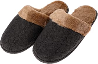 Men's Fuzzy House Slippers Christmas Winter Warm Indoor Home Slippers