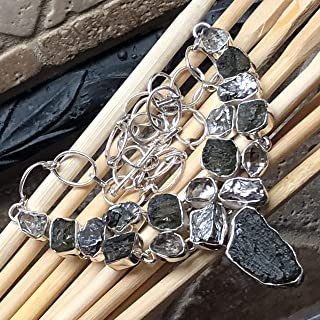 Natural Green Czech Republic Moldavite, Meteorite Campo Del Cielo, Herkimer Diamond 925 Sterling Silver Healing Stone Cluster Necklace 16