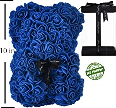 Rose Bear Hand Made Teddy Bear Rose Bear Rose Teddy Bear - Gift for Mothers Day, Valentines Day, Anniversary & Bridal Showers Weddings Clear Gift Box 10 inch (Royal Blue)