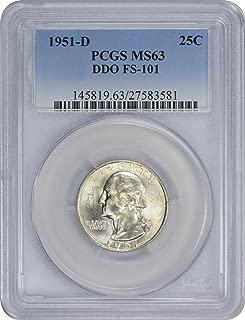 1951-D Washington Silver Quarter DDO FS-101 MS63 PCGS