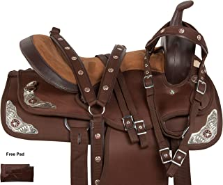 AceRugs GAITED Brown Synthetic Western Pleasure Trail Endurance Horse Saddle Free TACK Set 14 15 16 17 18