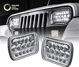 Rectangular 7x6 5x7 H6054 LED Headlight [H4 Plug & Play] [45W] [Sealed Beam] [Low/High Beam] - H6054 H5054 Headlight Set for Jeep Wrangler YJ XJ Cherokee Truck Ford Van