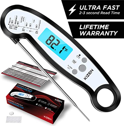 Kizen Instant Read Meat Thermometer - Best Waterproof Alarm Thermometer with Backlight & Calibration. Kizen Digital F...