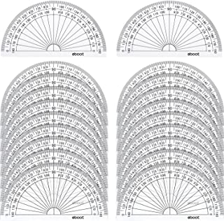 eBoot 20 Pack Plastic Protractor, 180 Degrees Protractor for Angle Measurement Student Math, 4 Inches, Clear
