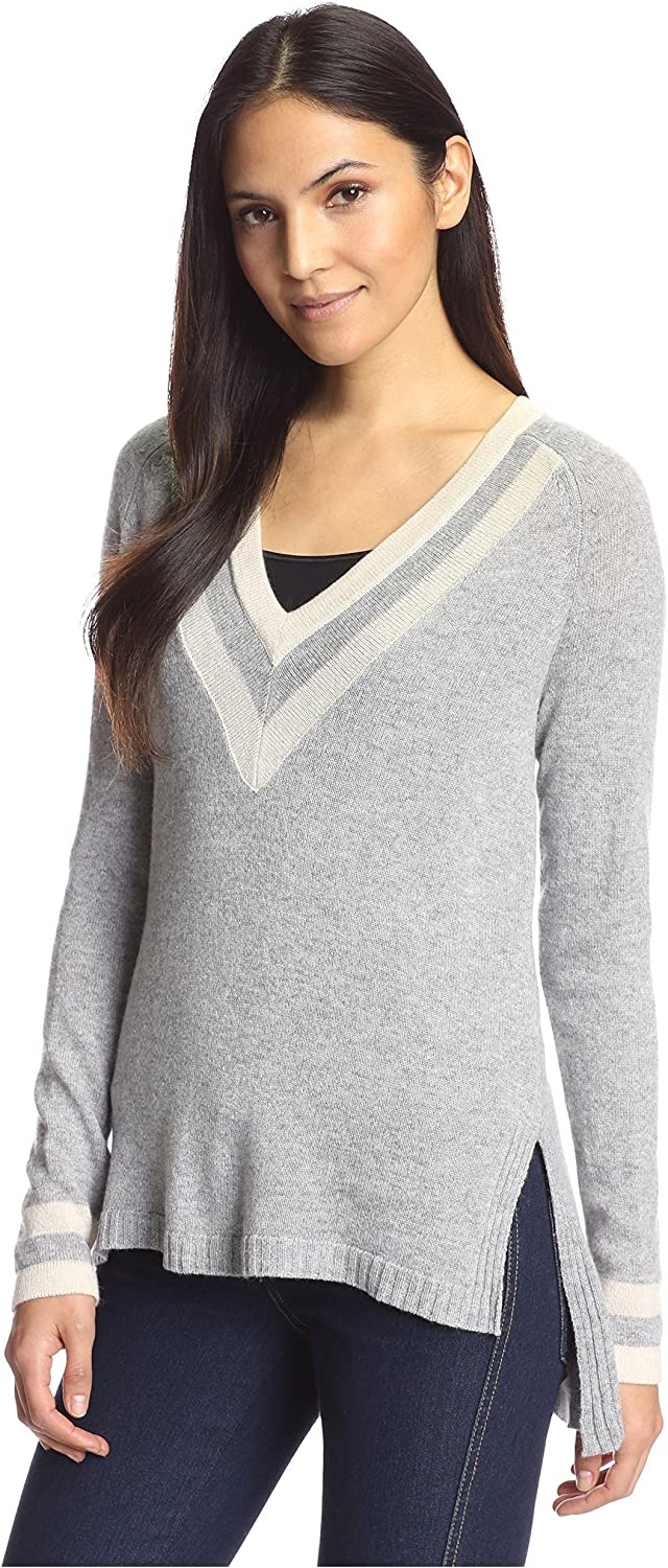 Cashmere Addiction Women's Tipped VNeck Tunic Sweater