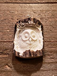 Real Deer Antler Carved Owl Pendant Necklace Tribal Stag Jewelry Rustic Hunting Nature Wild (N126)