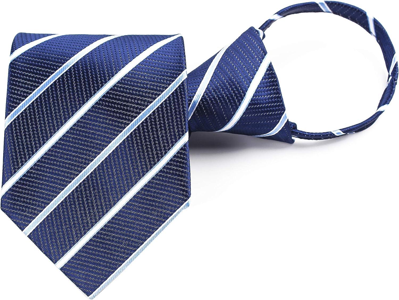 Mens Zipper Pre-tied Clip-On Tie Business Wedding Solid Checks Striped Necktie Various Design