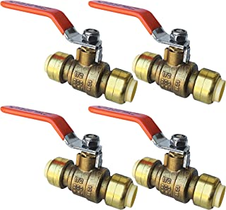 PROCURU 1/2-Inch PushFit Forged Brass Ball Valve | Push-to-Connect, Full Port Heavy Duty Valve for Copper, PEX, CPVC, Lead Free Certified (1/2