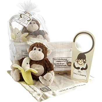 Baby Aspen, Five Little Monkeys, Baby Shower Gift Set with Keepsake Basket
