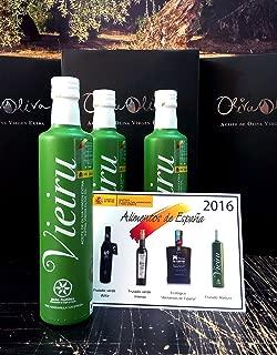 3 glass bottles x 500 ml - Vieiru, As Pontis manzanilla cacereña variety - Extra virgin olive oil DOP Gata-Hurdes By Oliva Oliva Internet SL