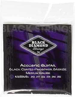 Black Diamond N600MB Phosphor Bronze Black Coated Acoustic Guitar Strings, Medium