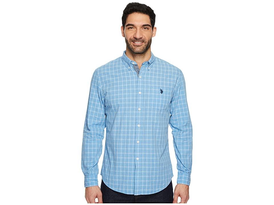 U.S. POLO ASSN. Classic Fit Stripe, Plaid or Print Long Sleeve Sport Shirt (Medium Blue Heather) Men's Clothing