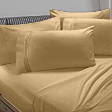 Clara Clark Premier 1800 Collection 6pc Bed Sheet Set with Extra Pillowcases - Full, Camel Gold
