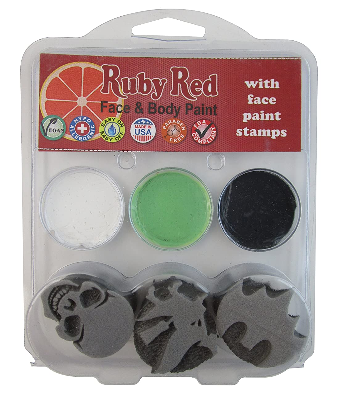 Ruby Red Paint Face Paint, 2ML X 3 Colors - Halloween 2 Stamp Palette