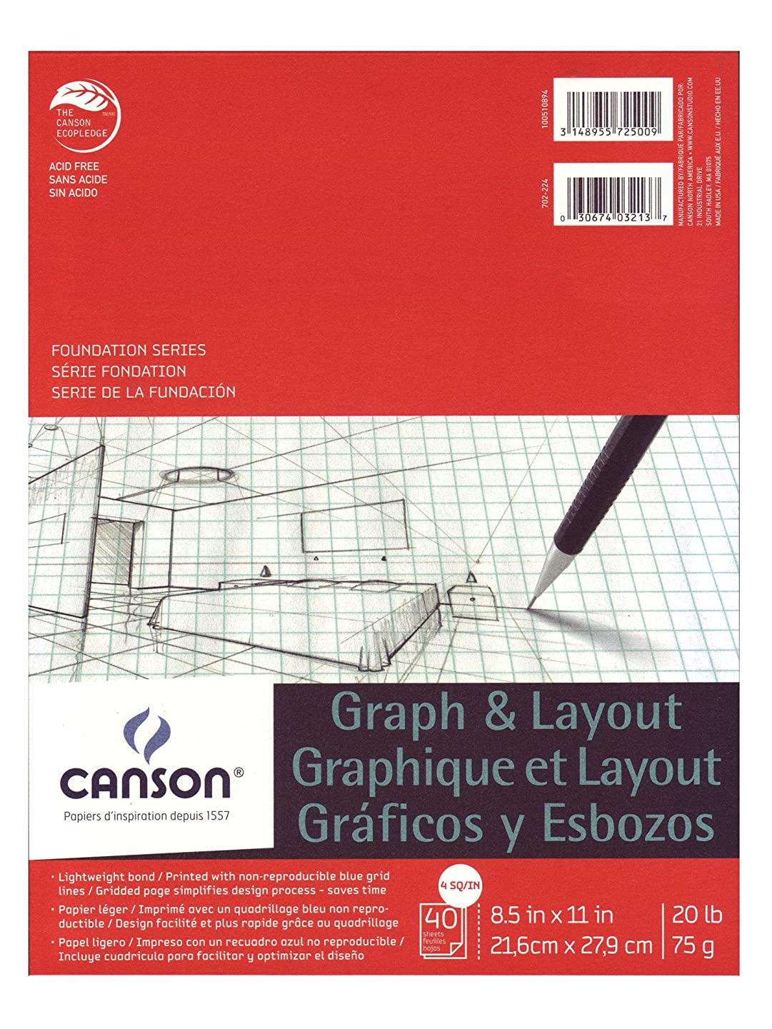 Canson Crossection Pad 40 SHTS 8.5X11 4SQ