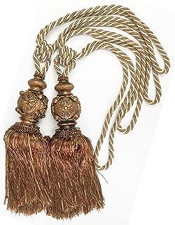 A pair of Elegant Tassels Drapery Tiebacks for Window Home Decoration (Antique Copper L)