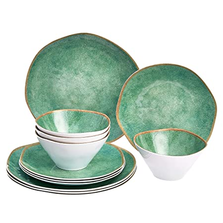 Amazon Basics 12 Piece Melamine Dinnerware Set Service For 4 Teal Weathered Crackle Dinnerware Sets