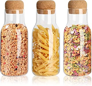 Récipient en verre de 700 ml Bocaux de stockage de 23 oz Pot de rangement en verre borosilicate avec couvercle en liège he...