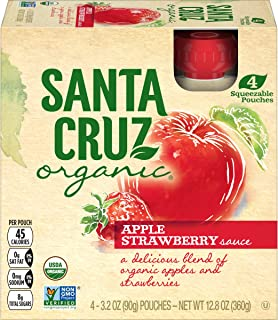 Santa Cruz Organic Apple Strawberry Sauce Pouch, 4-3.2 Ounce Pouches (Pack of 6)