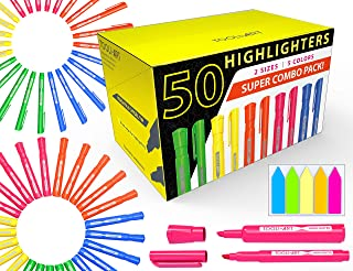 50 Chisel Tip Highlighters Markers Bulk Assorted Colors, Tank and Pen Type Combo, Bonus Sticky Index Tabs, 5 Vivid Fluorescent Colors for Office, School, Home, Students, Teachers, Bible Study