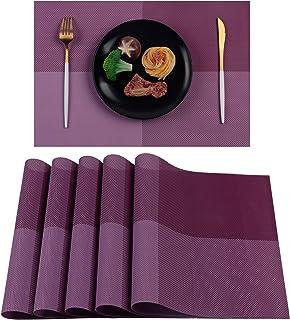 Famibay PVC Sets de Table Lot de 6 Lavable Vintage PVC Tapis de Table Napperon Plastique
