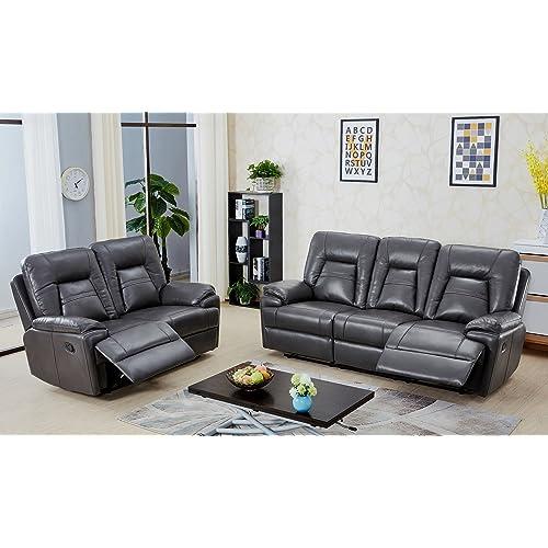 14cd37fe23 SC Furniture Ltd Dark Grey High Grade Leather Gel Reclining 3 Seater + 2 Seater  Recliner