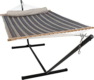 Sunnydaze Quilted Fabric Hammock Two Person with 12-Foot Stand and Spreader Bars, Outdoor Heavy Duty 350 Pound Capacity, Mountainside