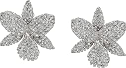 Nina - Large Pave Orchid Clip Swarovski Crystals Earrings