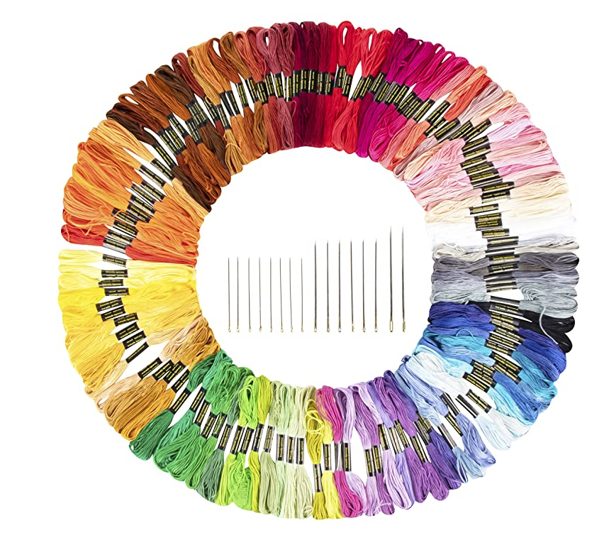 Embroidery Floss - 124-Skein Cross Stitch Thread with Embroidery Needles, 6-Strand Multicolored Polyester Cotton Thread, Friendship Bracelet String, 8.74 Yards Each