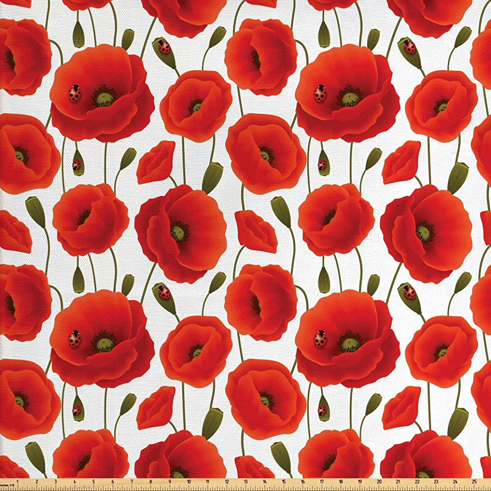Ambesonne Poppy Fabric by The Yard, Spring Flowers with Ladybugs Animals and Plants Flora and Fauna Nature, Decorative Fabric for Upholstery and Home Accents, 3 Yards, Orange Olive Green White xauugazmu4355