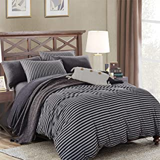 PURE ERA Duvet Cover Set Cotton Jersey Knit Ultra Soft Comfy Striped 3 PCs Home Bedding Sets (1 Duvet Cover+ 2 Pillow Shams, Comforter Not Included) Charcoal Black Grey King