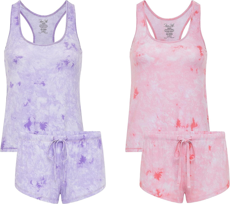 2 Pack: René Rofé Sleepwear Women's Comfy Lightweight Racerback Tank Top Cami Pajama Short Sleep Set