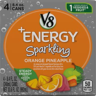 V8 +Energy Sparkling Healthy Energy Drink, Natural Energy from Tea, Orange Pineapple, 8.4 Fl Oz Can (6 Packs of 4, Total of 24)