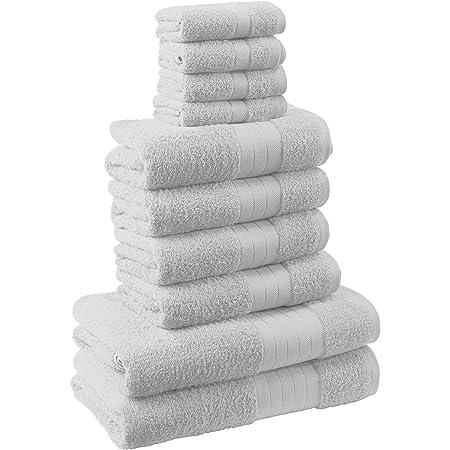 100/% cotone 10 pezzi doccia mani confezione da 10 pezzi Casabella Set di asciugamani morbidi da bagno per viso Blu reale