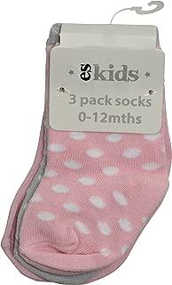 ES Kids 3 pack socks 0-12mths, Pink dot